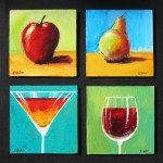 apple, pear, wine, martini